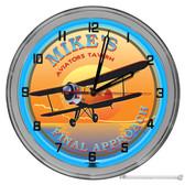 "Pilots Tavern Light Up 16"" Blue Neon Wall Clock"