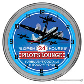 "Pilots Lounge 16"" Blue Neon Wall Clock"