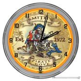 "Pirate Cove 16"" Orange Neon Wall Garage Clock"
