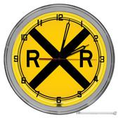 "Railroad Crossing 16"" Yellow Neon Wall Garage Clock"