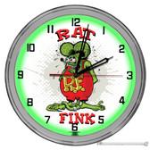 """Rat Fink 16"""" Green Neon Wall Garage Clock"""