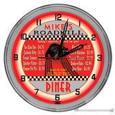 "Retro Diner 16"" Red Neon Wall Garage Clock"