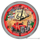"""Route 66 Customized 16"""" Red Neon Wall Garage Clock"""