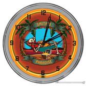 "Paradise Island Skeleton Themed 16"" Orange Neon Wall Garage Clock"