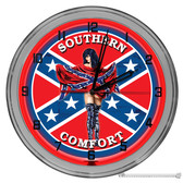 """Southern Pride Confederate Flag Themed 16"""" Red Neon Wall Garage Clock"""