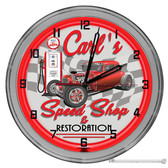 "Speed Shop Hot Rod 16"" Red Neon Wall Garage Clock"