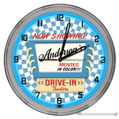 """Vintage Drive In Movie Theater 16"""" Blue Neon Wall Garage Clock - Customized"""