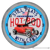 "American Hot Rod 16"" Blue Neon Wall Garage Clock"