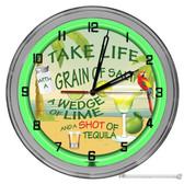 "Tequila Life Beach Rules 16"" Green Neon Wall Garage Clock"