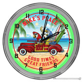 "Beach Fun In Paradise 16"" Green Neon Wall Garage Clock"