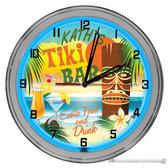 "Tiki Hut Beach Paradise 16"" Blue Neon Wall Garage Clock"