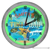 "Tequila Parrot Beach Paradise 16"" Green Neon Wall Garage Clock"
