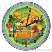 "Parrot Sunset Island Paradise 16"" Green Neon Wall Garage Clock"