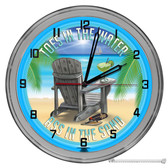 """Beach Bar Paradise Toes In The Water 16"""" Blue Neon Wall Garage Clock"""
