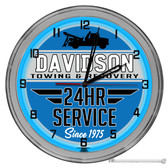 """Tow Truck Wrecker Business 16"""" Blue Neon Wall Garage Clock"""