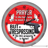 "Trespassing Novelty 16"" Neon Wall Garage Clock"