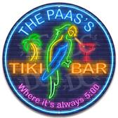 Neon Themed Tiki Bar Always Five O'clock Sign - Customized