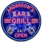 Bar and Grill Neon Themed Wall Sign