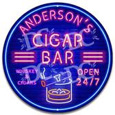 Cigar Bourbon Bar Neon Themed Wall Sign - Customized
