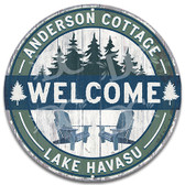 Cottage Outdoor Lake House Metal Welcome Wall Sign