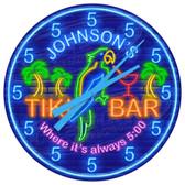 "Neon Themed Tiki Bar ""Always 5 O'clock"" Wall Clock"