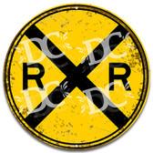 Railroad Crossing Rustic Metal Sign