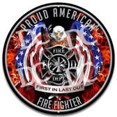 American Patriotic Firefighter Metal Wall Sign