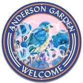 Bird Garden Welcome Metal Wall Sign - Blue