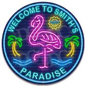Flamingo Bar Paradise Metal Wall Sign