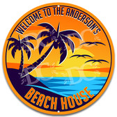 Tropical Beach House Metal Wall Sign