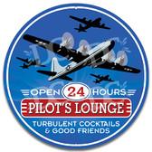 Pilot Lounge Aviator Bar Metal Wall Sign