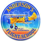 Flight School Aviator Metal Wall Sign