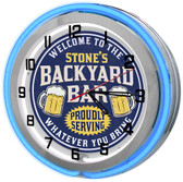 "Backyard Tiki Bar Oasis 18"" Double Neon Clock - Blue"