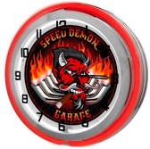 """Speed Demon Racing Garage 18"""" Double Neon Clock - Pipes"""