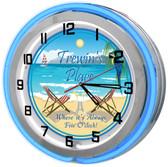 "Tropical Beach Bar Paradise 18"" Double Neon Clock"
