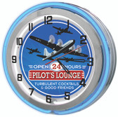 Pilot's Lounge Neon Clock