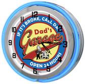 "Dad's Garage 18"" Blue Double Neon Clock"