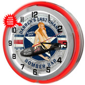 """Customized Bomber Bar 18"""" Double Neon Clock - Red"""