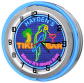 "Neon Tiki Bar Parrot Themed 18"" Double Neon Clock"
