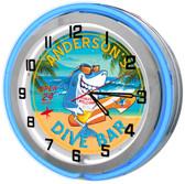 "Beach Dive Bar 18"" Double Neon Clock - Blue"