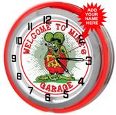 """Rat Fink Garage 18"""" Double Neon Clock - Red"""