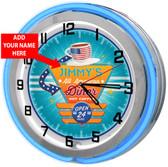 "Retro Diner Restaurant 18"" Double Neon Clock - Blue"