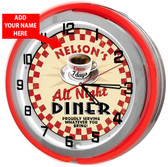 """All Night Vintage Diner 18"""" Double Neon Clock"""