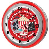 "Movie Room 18"" Double Neon Clock - Red"