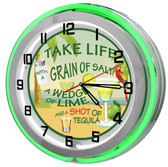 """Tequila Rules Green 18"""" Double Neon Clock"""