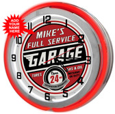 "Full Service Garage Customized 18"" Double Neon Clock"