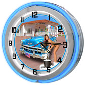 """Gas Station Car Wash Blue 18"""" Double Neon Clock"""