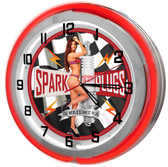 """Hot Rod Garage Pin Up Girl 18"""" Double Neon Clock - Red"""