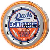 """Dad's Garage Orange 18"""" Double Neon Clock - Orange"""