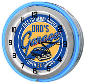 """Dad's Fatherly Advice Garage Blue 18"""" Double Neon Clock"""